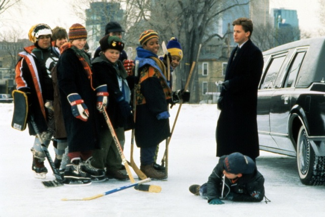 MIGHTY DUCKS, Emilio Estevez (right), 1992